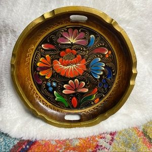 Vintage Wooden Hanging Hand Painted Bowl Floral